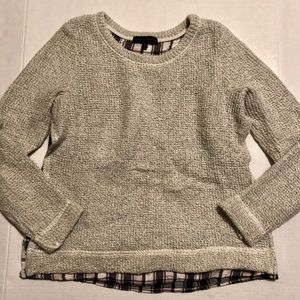 Wool Blend Sweater with Flannel Layer